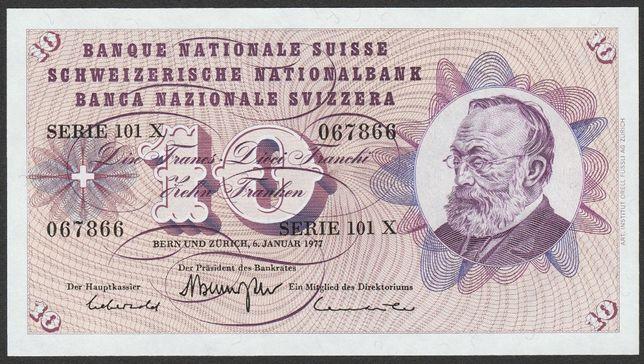 banknot Szwajcaria 10 franków 1977 - stan bankowy UNC