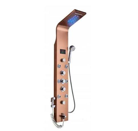 Panel prysznicowy z hydromasażem deszczownicą led termostat