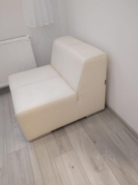 Fotel skórzany biały (jak nowy)