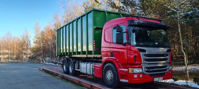 Transport hakowcem-platforma do przewozu maszyn-transport kontenerów