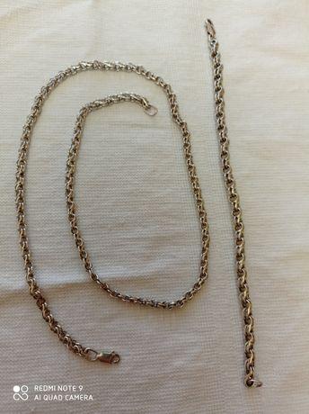 """Продаю новый серебряный набор плетение """"Бисмарк"""" цепь+браслет Размер б"""