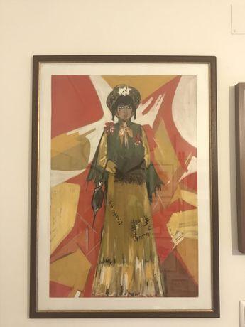 Maria helena reis - a louca de chaillot 1968 guache sobre cartolina