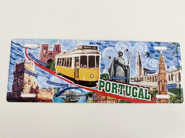PORTUGAL - placa matricula em metal p/ decoracao estilo vintge - nova