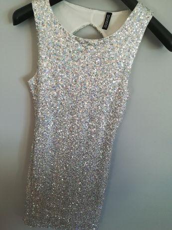 Cekinowa srebrna sukienka XS