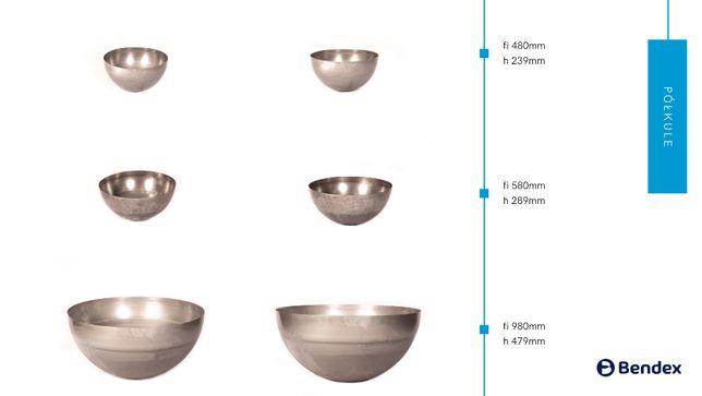 Wyroby wyoblane stalowe - Dennice, Dna soczewkowe, Półkule