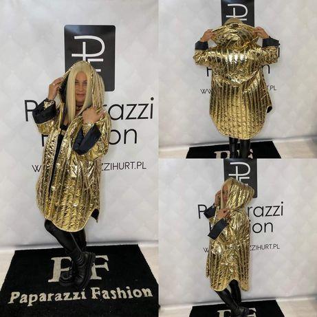 Elegancki płaszcz złoty nowa kolekcja paparazzi
