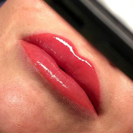 Пудровые брови Киев Виноградарь акварельные губы Межресничка татуаж