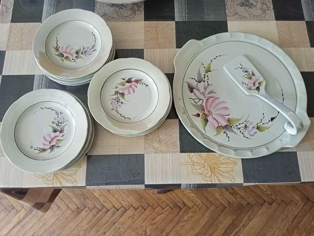Сервиз набор тарелок для торта, десертов фарфор Барановская фабрика