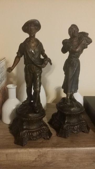 Rzeźba, figury farmerów, kolekcjonerskie, koniec XIX wieku