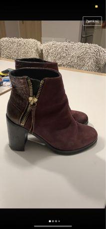 Skórzane buty na obcasie 10cm