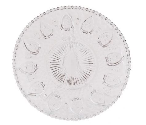 Clayre Eef 4 szklane talerze dekoracyjne 20 cm