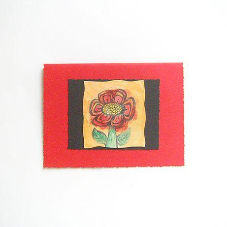 czerwona kartka ręcznie malowana, ladna kartka z kwiatkiem, okolicznos