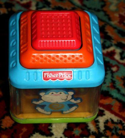Fisher price интерактивные тактильные животные кубики шарики
