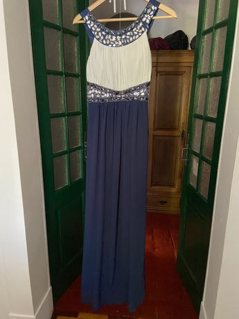 Vestido de cerimónia azul comprido