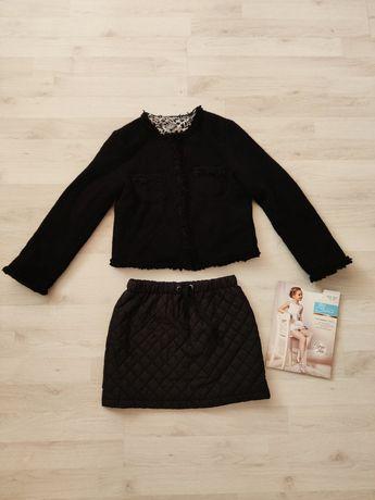 Wełniany 80% pulower Zara, pikowana spódniczka i nowe rajstopy.