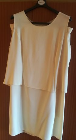 Koronkowa sukienka, komplet z narzutką, sukienka beżowa, sukienka 50