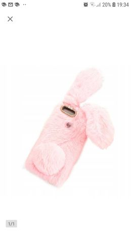 Etui futerko uszy królik Samsung A20 nowe różowe pluszowe
