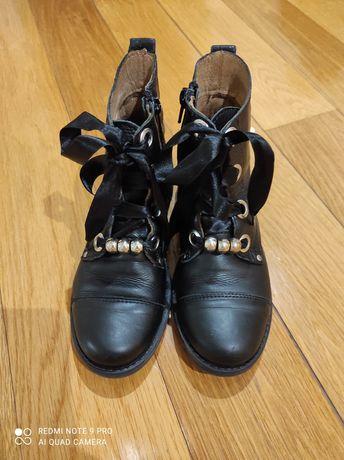 Botas em pele menina, tamanho 31