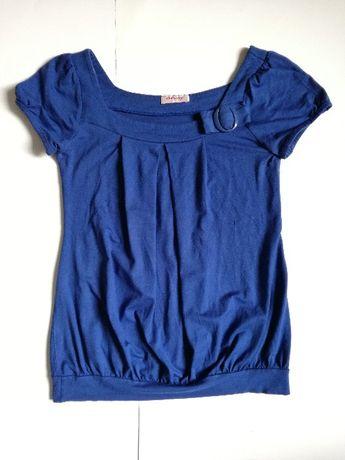 ORSAY bluzka z kr. rękawem niebieska szafirowa z kokardką rozmiar S/M
