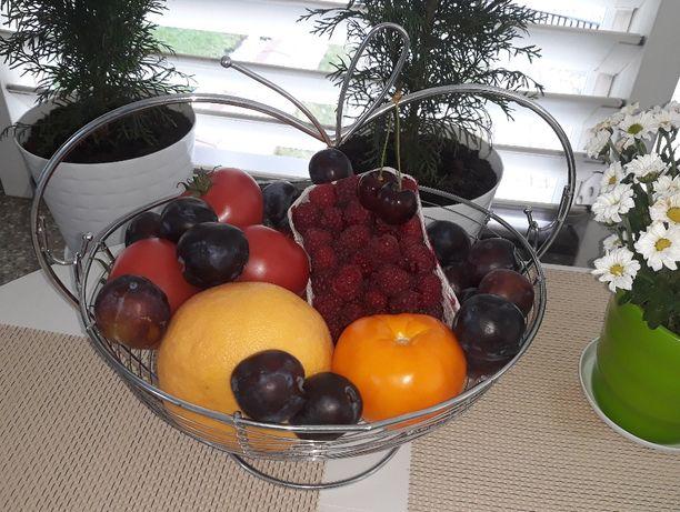 Ozdobna, duża misa na owoce i warzywa (chromowana)