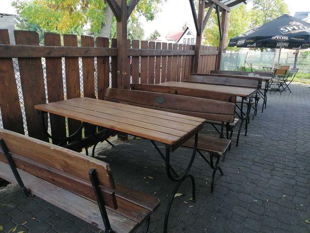 Ława ogrodowa i dwie ławki