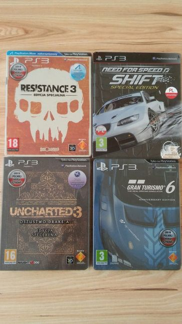 Ps3 gry.Resistance3,Gran turismo6,Uncharted3,Need for speed shift2.