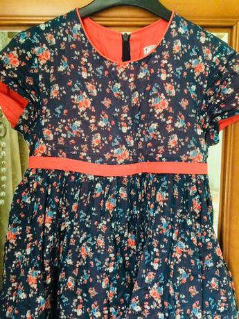 Нарядное, модное, яркое платье на праздник! Сине-оранжевые цвета.