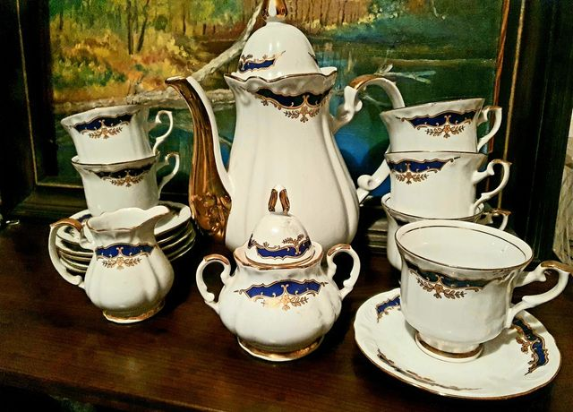 Serwis porcelanowy Chodzież, porcelana do kawy i herbaty, zestaw