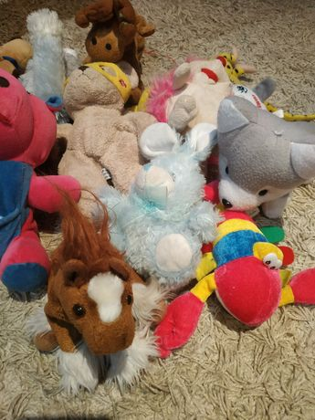 Мягкие игрушки дракон слон зайчик бегемот