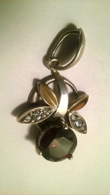 Кулон, подвеска золото 585, серебро 925, камни.