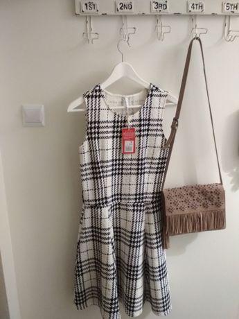 Sukienka nowa carry rozmiar M krata biało czarna