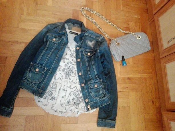 Zestaw: kurtka jeansowa, bluzka, torebka