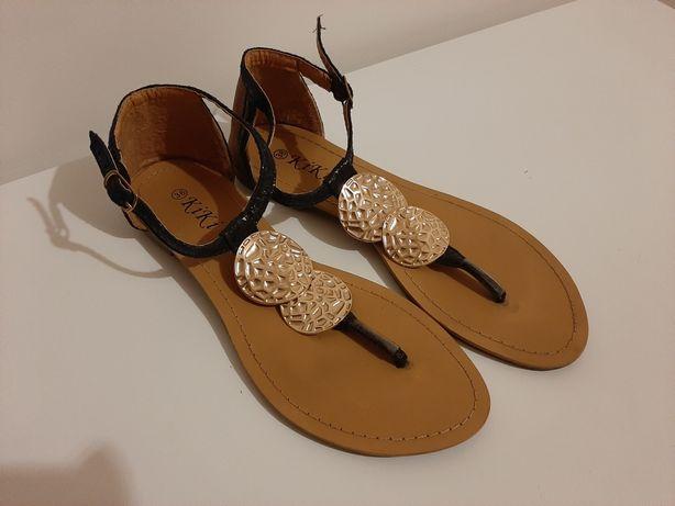 Sandálias rasas camel/preto