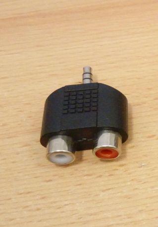 Adapter mini jack męski na 2xRCA cinch żeński przejściówka