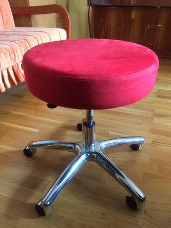 Круглый мягкий стул (пуф) ножка хром регулируемой высоты на колёсиках
