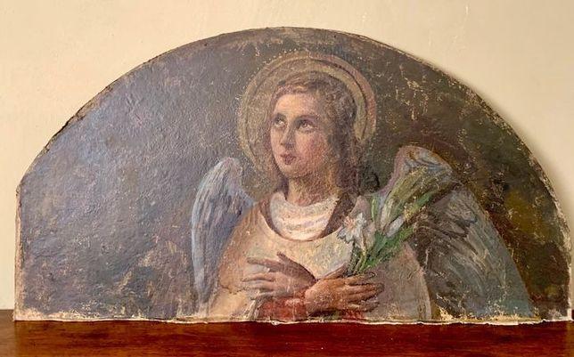Anioł z lilią obraz ok. XVIII wiek fragment