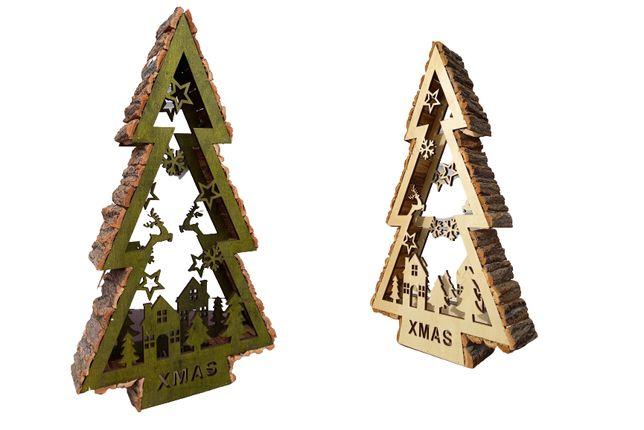 Choinka drewniana zielona biała ozdoba świąteczna 60 cm h z drewna