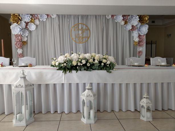 Ścianka ślubna, stół prezydialny, papierowe kwiaty Chanel, 5x2,5m,
