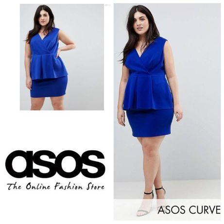 Платье мини ASOS с баской, 48-50 размер, нарядное
