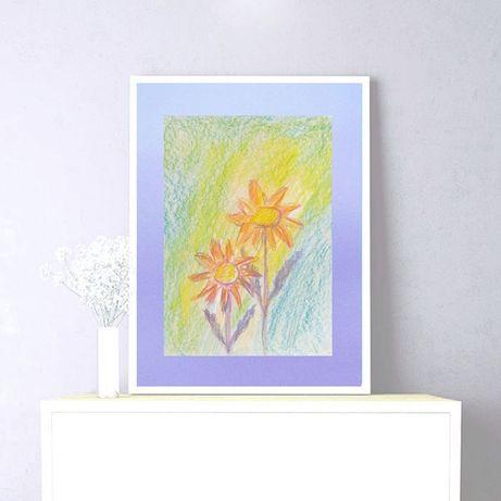 kwiaty rysunek,obrazek z kwiatkami,pastelowy rysunek do pokoju kwiatki