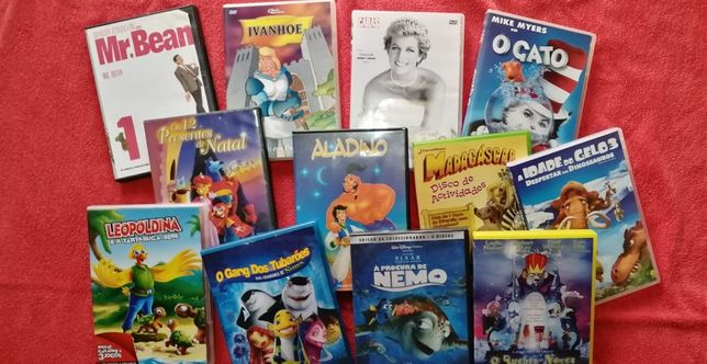 DVDs ice age, nemo, leopoldina, aladin, madagáscar