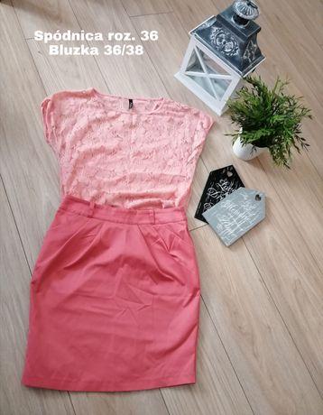 Zestaw PAKA ubrań bluzka spódnica spodnie rurki damska rzeczy 36/38
