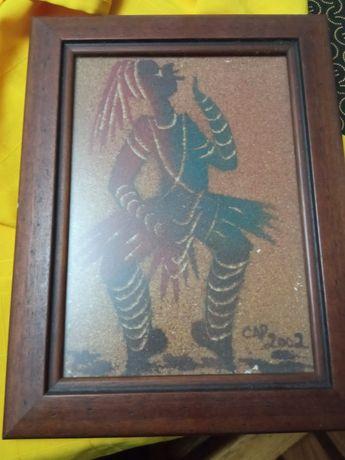 Vendo quadro africano pintado a areia