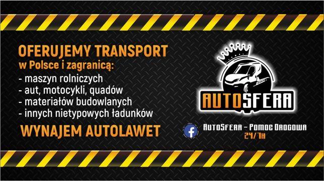 Wynajem/Usługi Autolawetą Pomoc Drogowa , Transport 24/7 ! AutoSfera