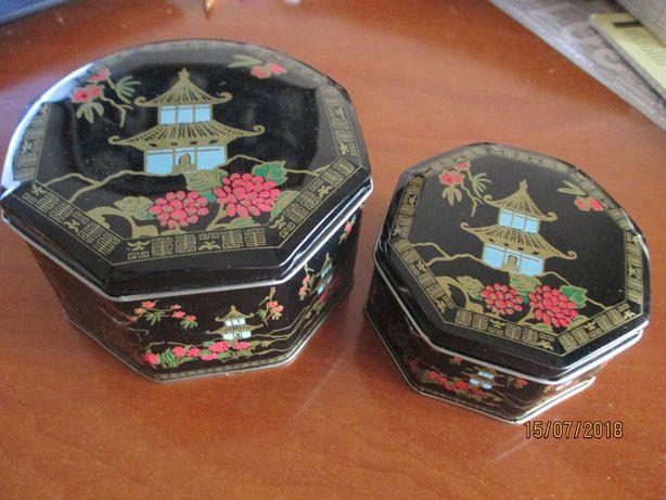 2 caixas metálicas hexagonais, muito bonitas