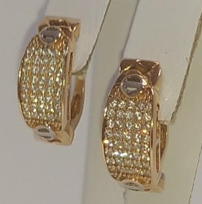 Серьги из красного золота с цирконием (12610682) (12610682)