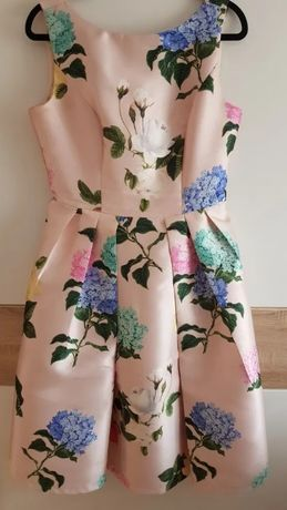 Sukienka chi chi london uk14 40 42 kwiaty pudrowy róż hortensje L xl