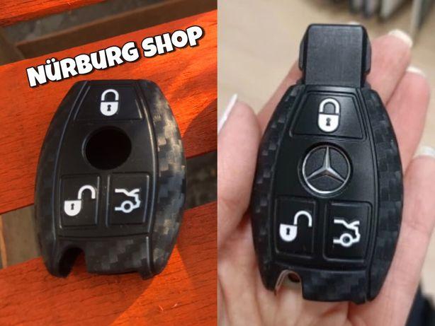 Чехол на ключ Mercedes карбон  W203 W204 W208 W209 W210 W211 W639 W220
