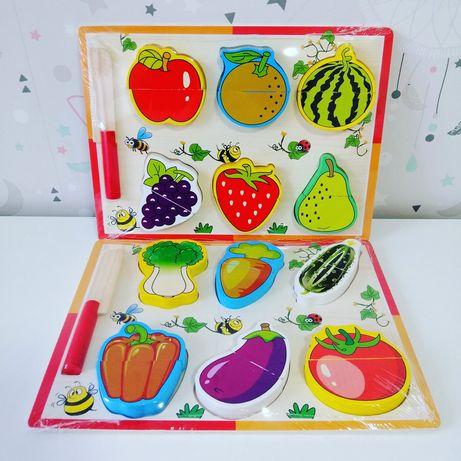 Дерев'яна рамка-вкладиш, дерев'яні овочі і фрукти