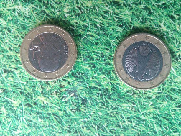 Монеты номиналом 1 ЕВРО две штуки